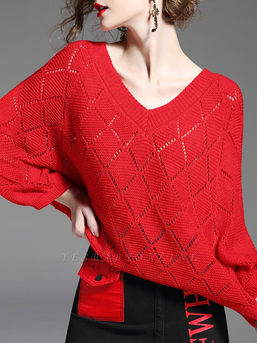 Red Cutout V neck Balloon Sleeve Graphic Sweater