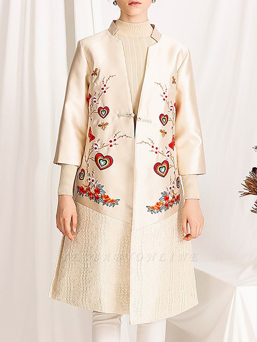 Casual Floral Shift 3/4 Sleeve Stand Collar Coat