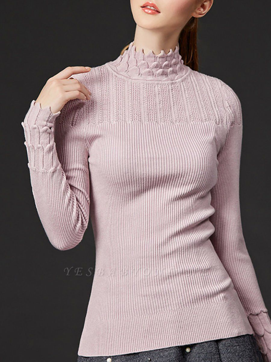 Stand Collar Casual Shift Solid Long Sleeve Sweater