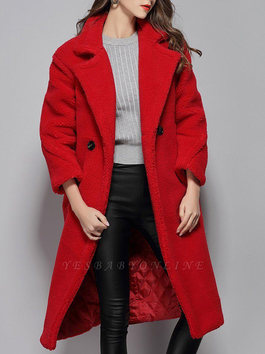 Long Sleeve Lapel Pockets Buttoned Coats
