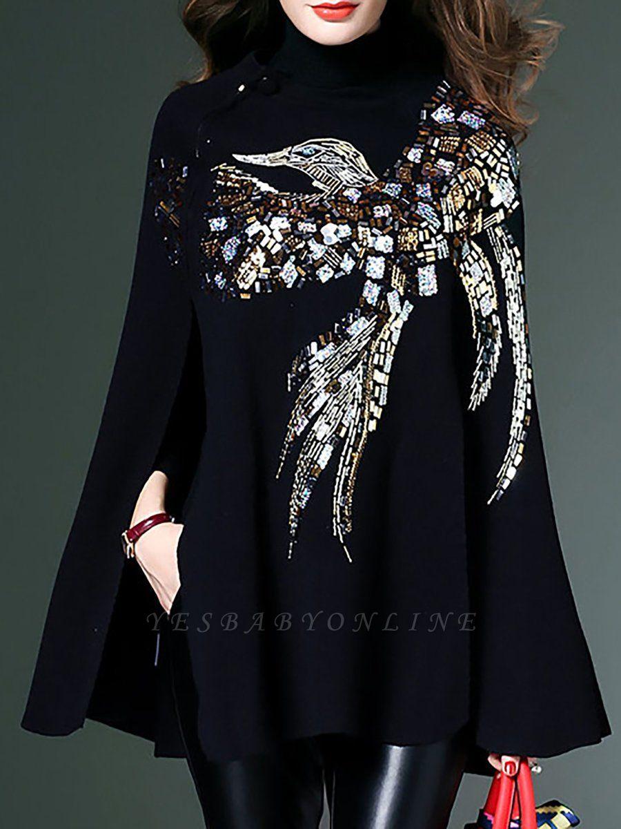 Black Elegant Shift Glitter-finished Animal Sweater