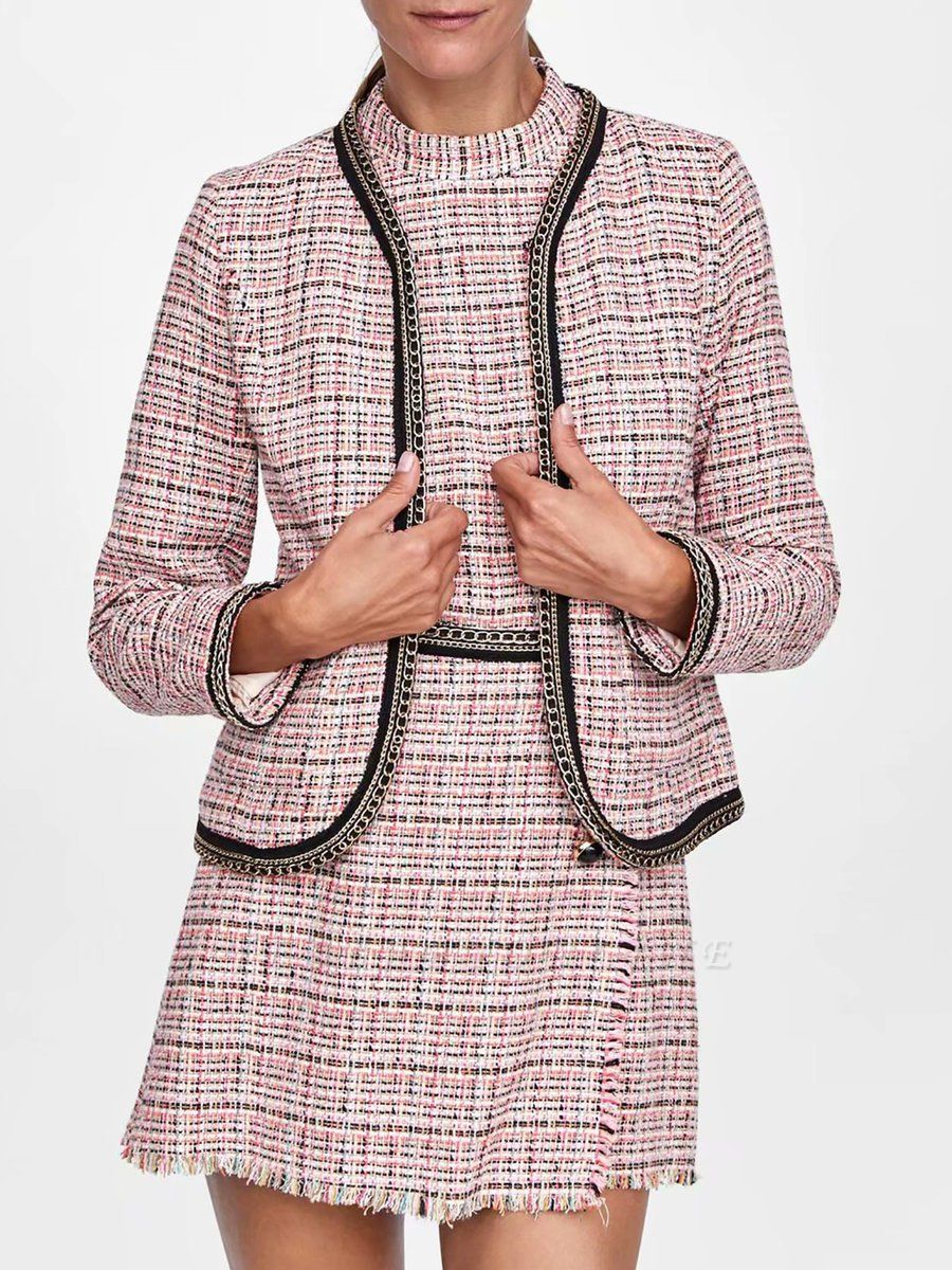 Pink Casual Shift Crew Neck Long Sleeve Paneled Pockets Coat