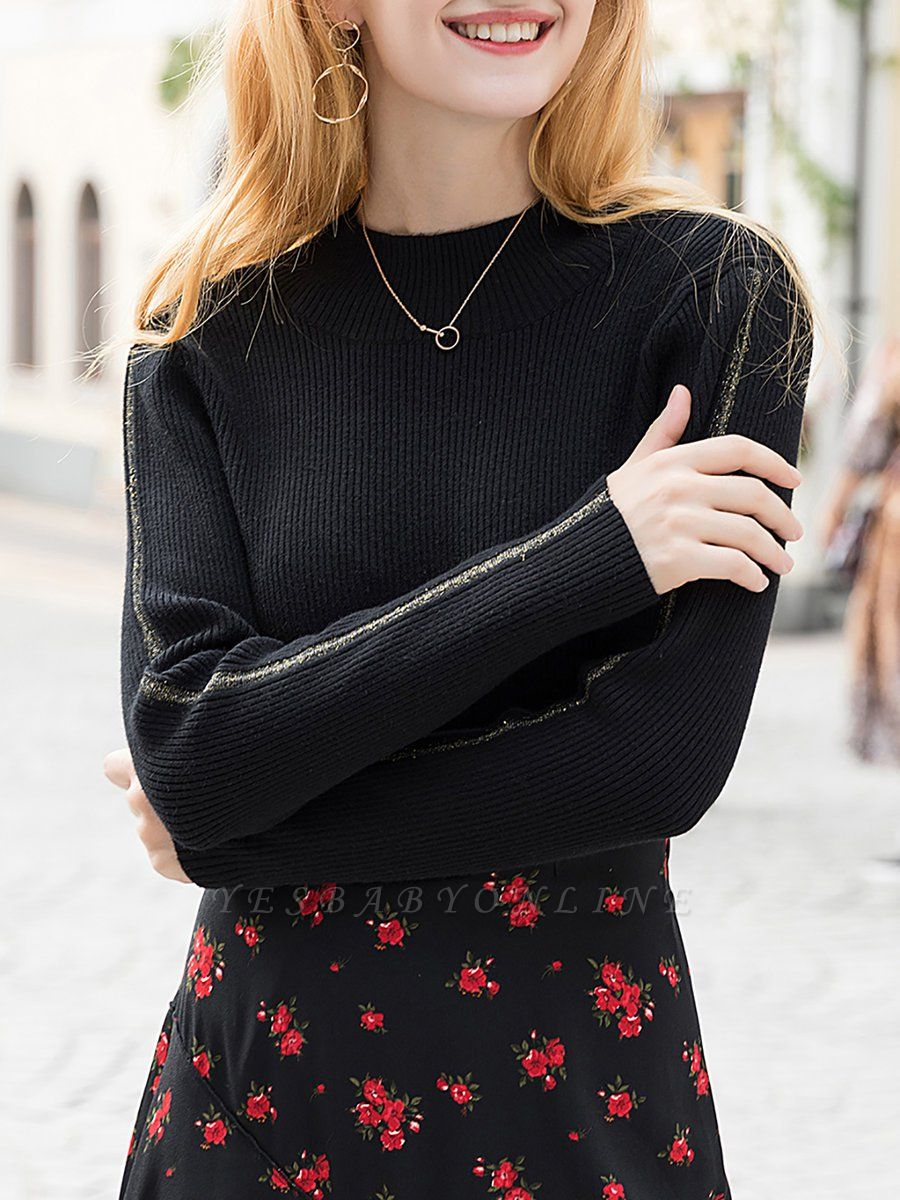 Black Casual Long Sleeve Crew Neck Sweater