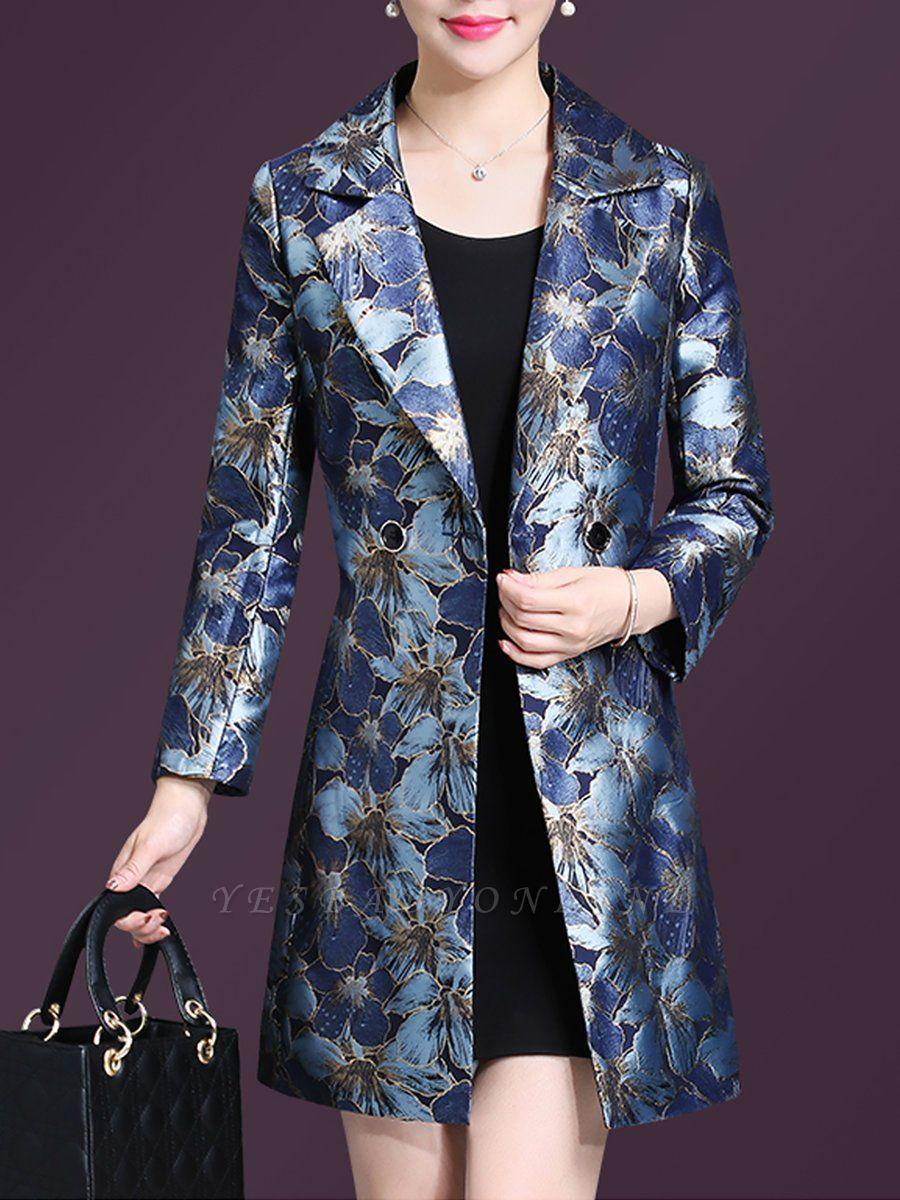 Blue Casual Shift Lapel Pockets Coat