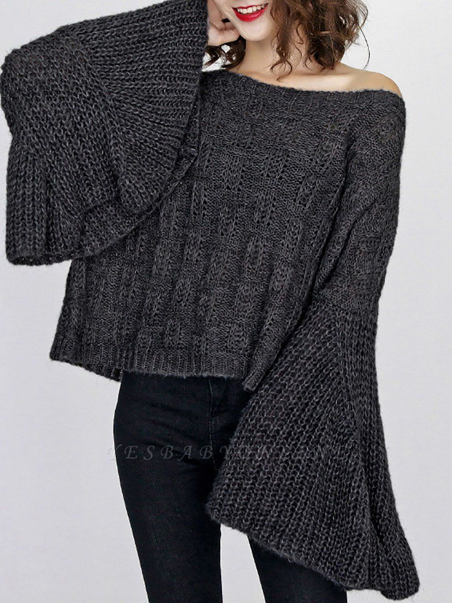 Solid Casual Frill Sleeve Sweater