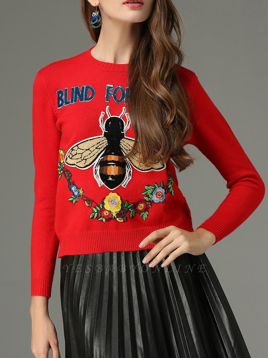 Red Animal Long Sleeve Knitted Embroidered Sweater