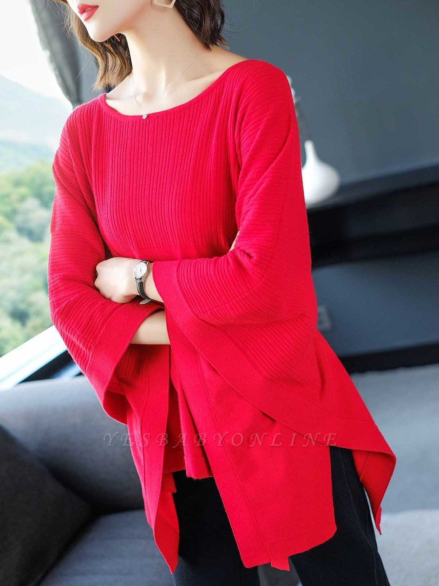 Batwing Solid Knot Front Casual Sweater