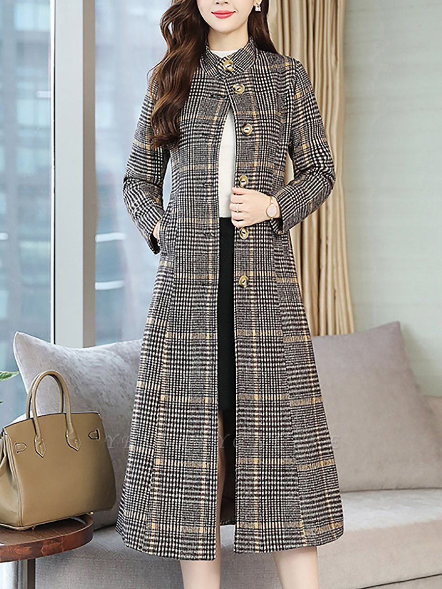 Gray Checkered/plaid Buttoned Work Stand Collar Coats
