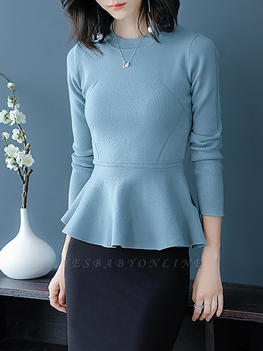 Ruffled Solid Long Sleeve Crew Neck Casual Sweater