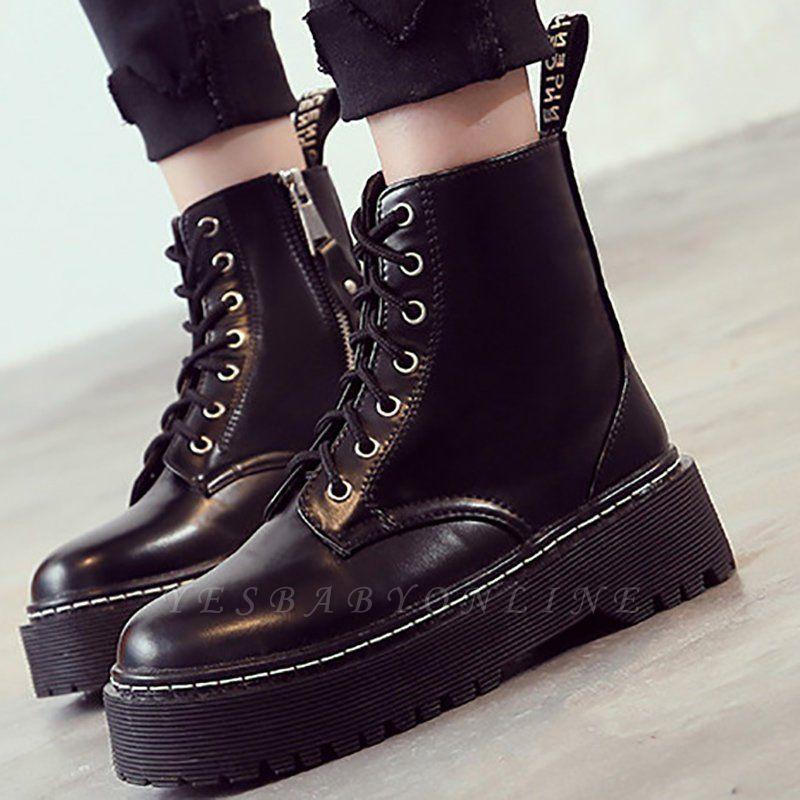 Platform Lace-up Round Toe Boots