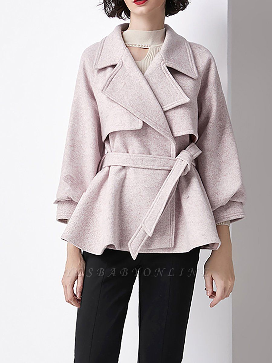 Light Pink Lapel Work Balloon Sleeve Paneled Coat