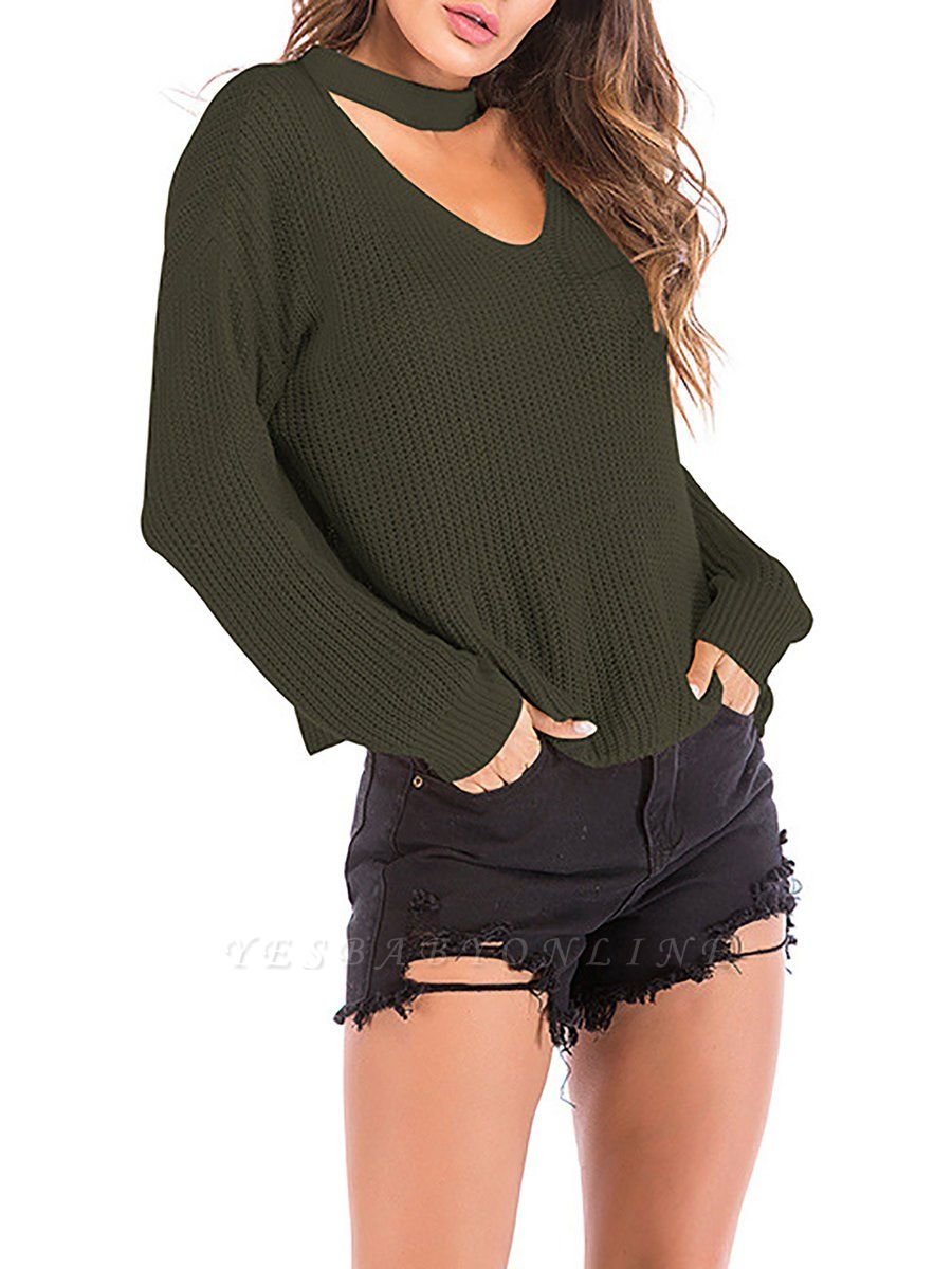Casual Geometric Cold Shoulder Crew Neck Cable Sweater