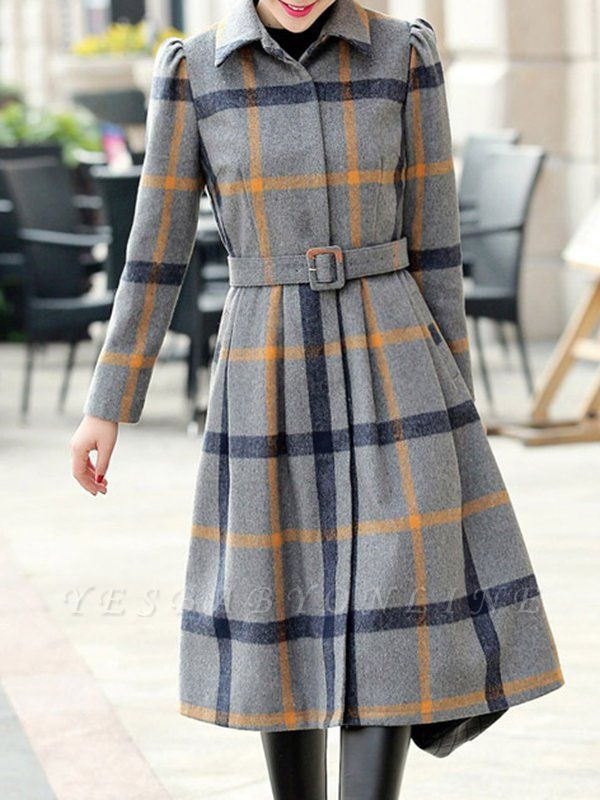 Casual Checkered/Plaid Long Sleeve Spandex Coat
