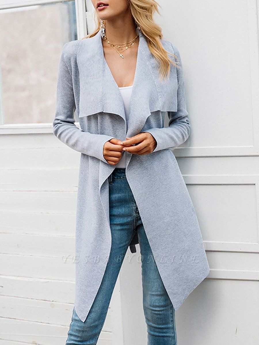Casual Long Sleeve Solid Coat