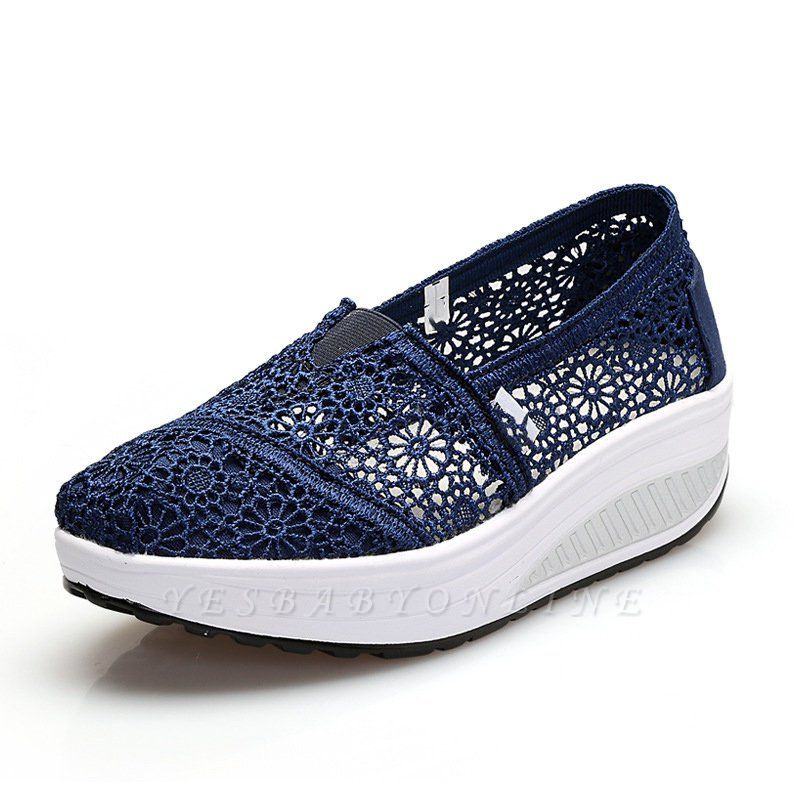 Lace Daily Breathable Fabrics Summer Round Toe Loafer Shoes