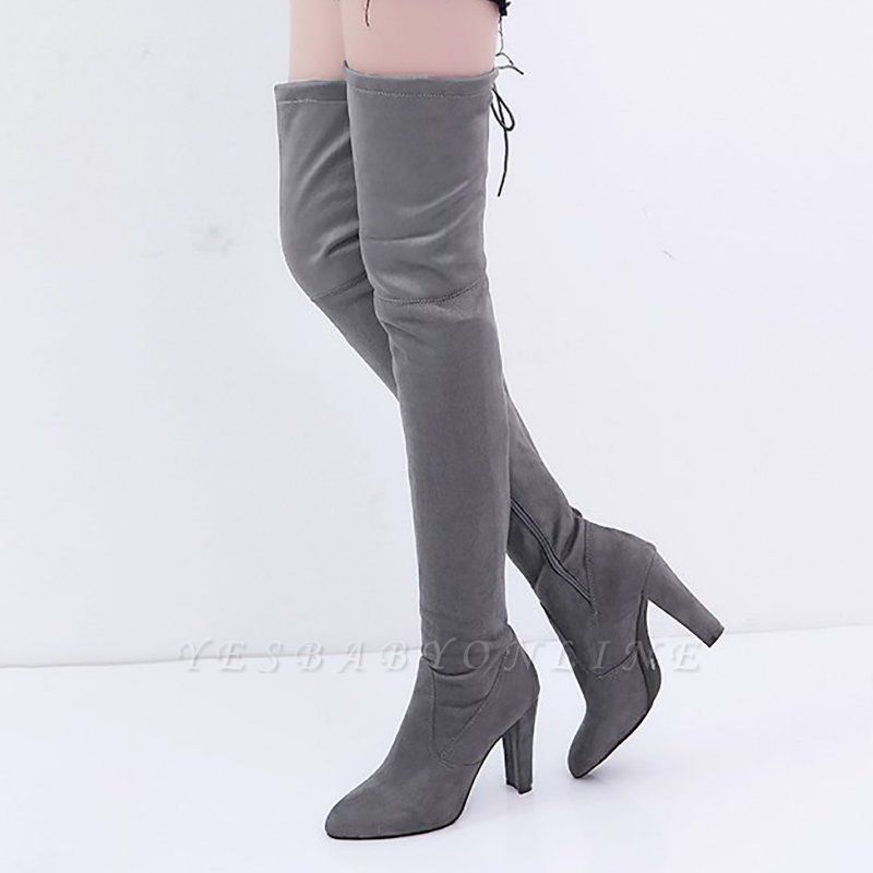 Suede Daily Lace-up Chunky Heel Elegant Boot