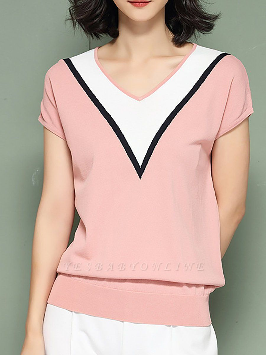 Short Sleeve Knitted Paneled Casual Sweater