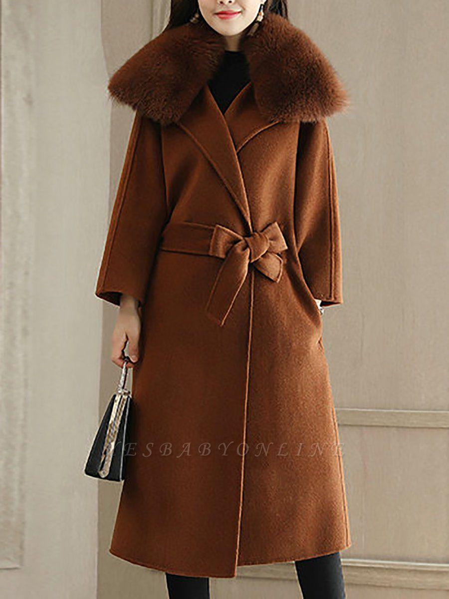 Shift Solid Casual Long Sleeve Shawl Collar Pockets Paneled Coat