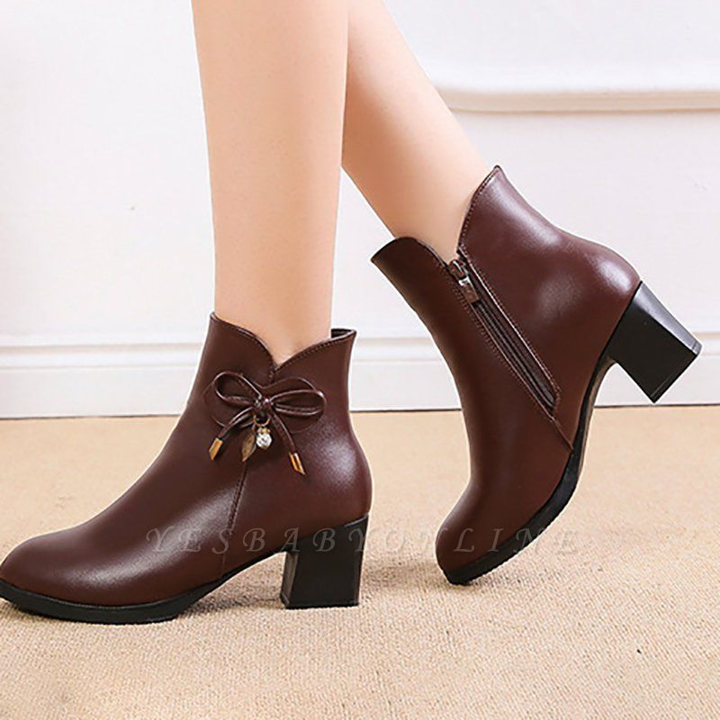 Bowknot Daily Chunky Heel Pointed Toe Zipper Elegant Boots