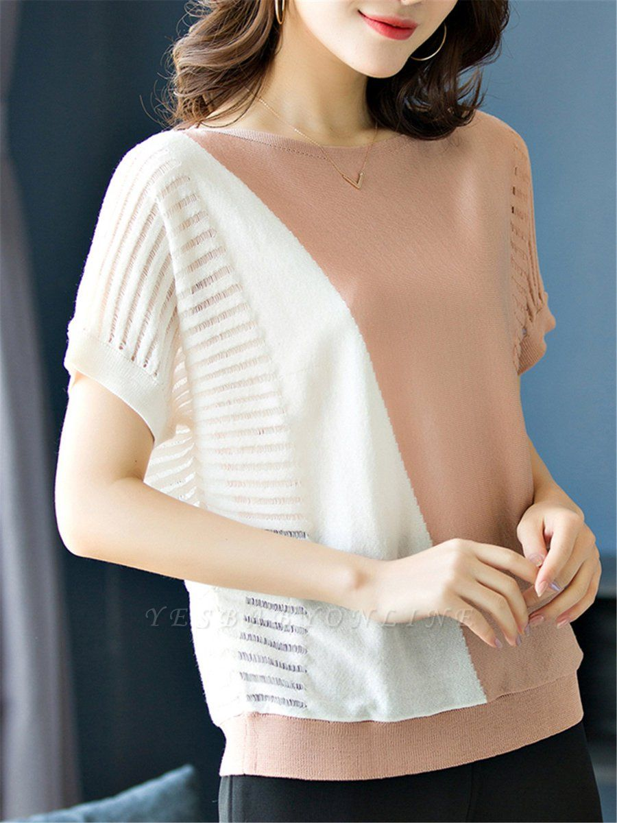 Short Sleeve Casual Knitted Color-block Paneled Sweater