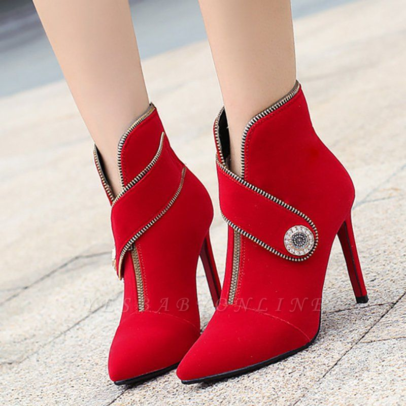 Zipper Daily Stiletto Heel Suede Pointed Toe Elegant Boots