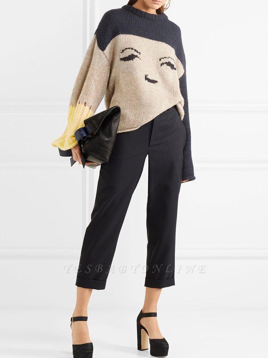 Multicolor Pleated Shift Long Sleeve Plain Sweater