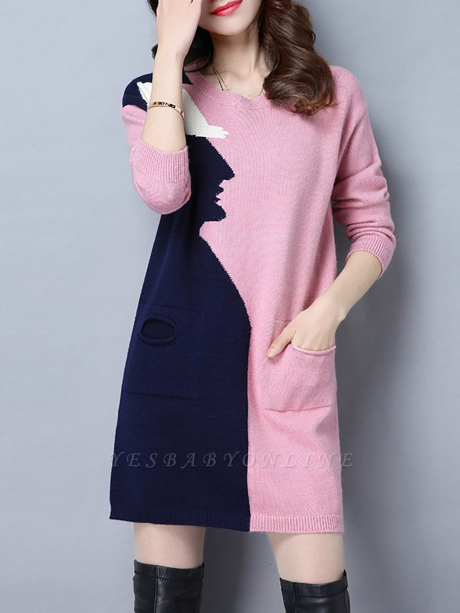 Casual Graphic Long Sleeve Color-block Sweater
