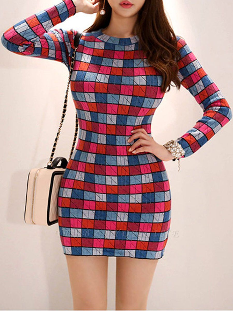 Multicolor Casual Checkered/Plaid Crew Neck Long Sleeve Sweater