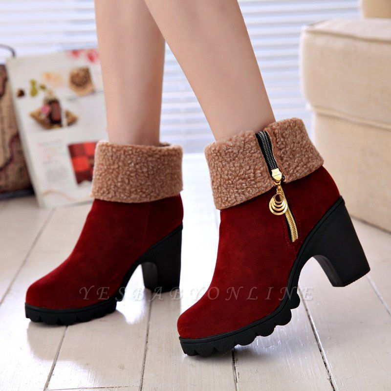 Chunky Heel Suede Fall Zipper Daily Round Toe Boot
