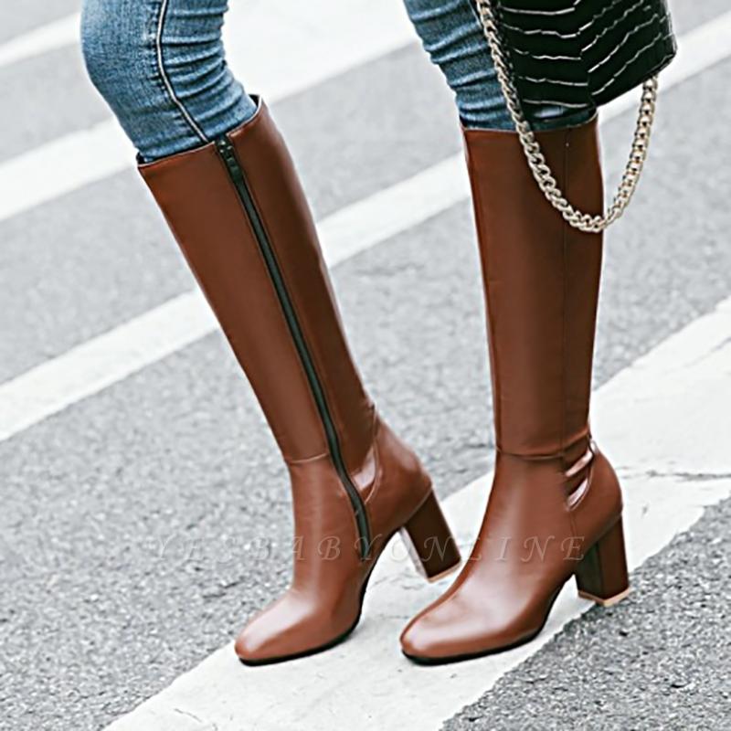 Zipper Chunky Heel Daily Round Toe Elegant Boots
