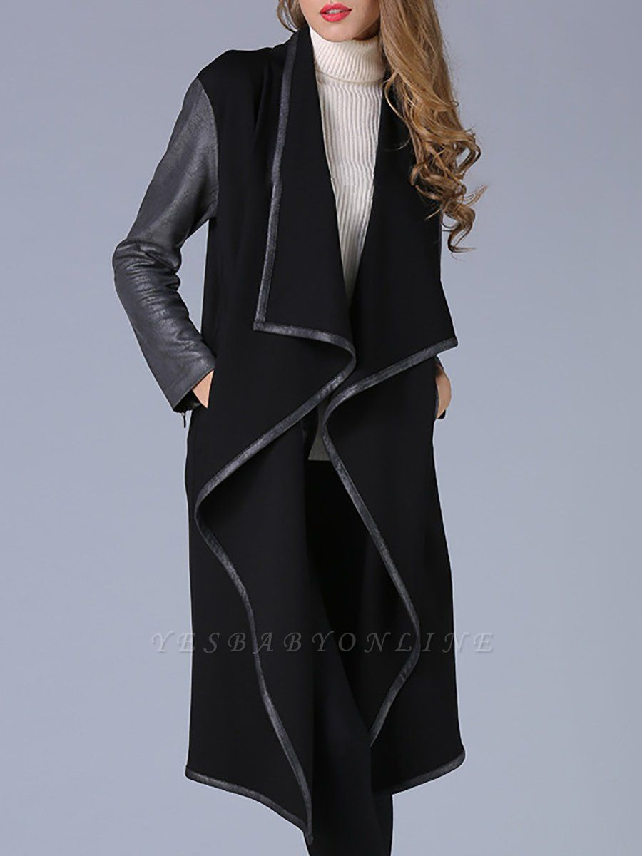 Black Shawl Collar Casual Paneled Coat