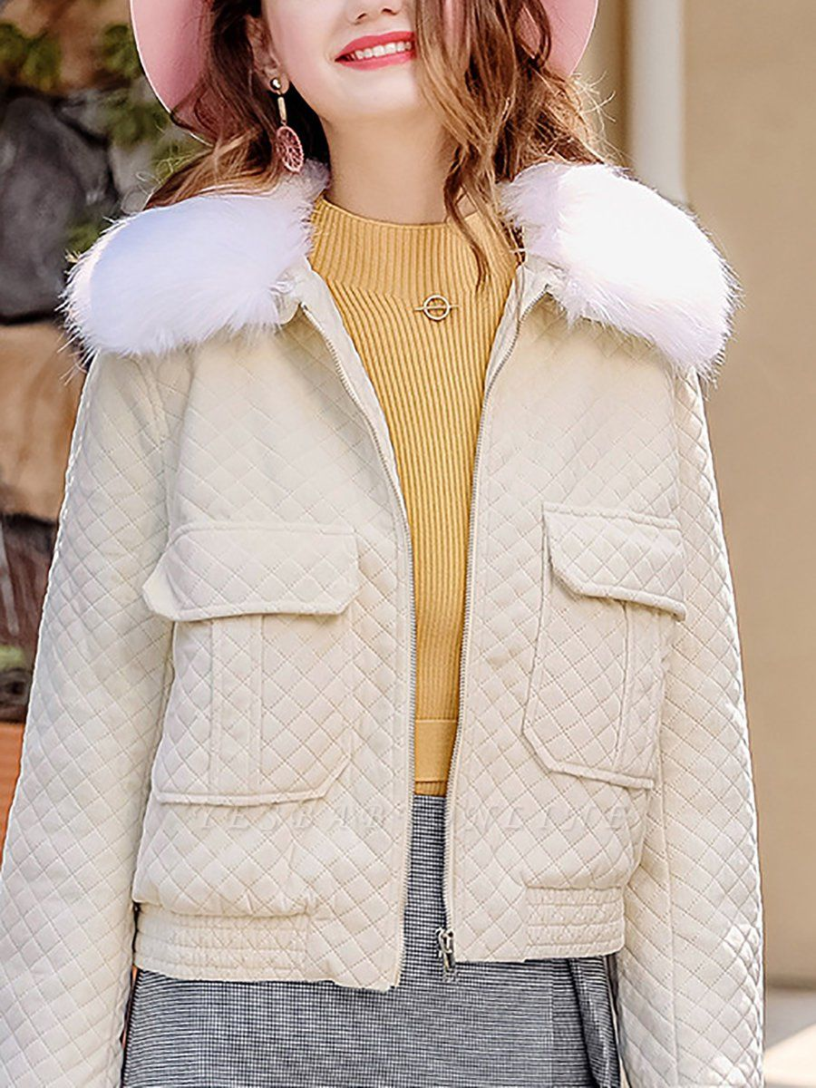 Long Sleeve Casual Paneled Shawl Collar Pockets Zipper Fluffy  Coat