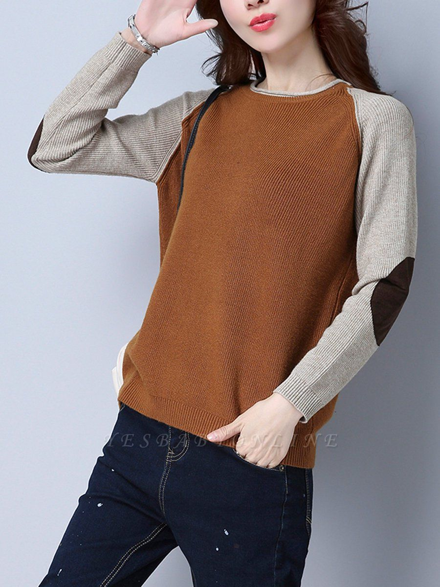 Patch Long Sleeve Casual Crew Neck Sweater