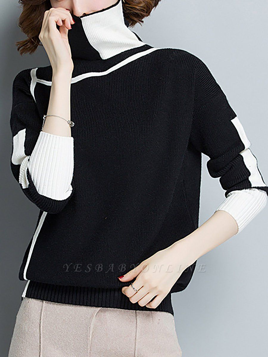 Plain Casual Turtleneck Long Sleeve Shift Sweater