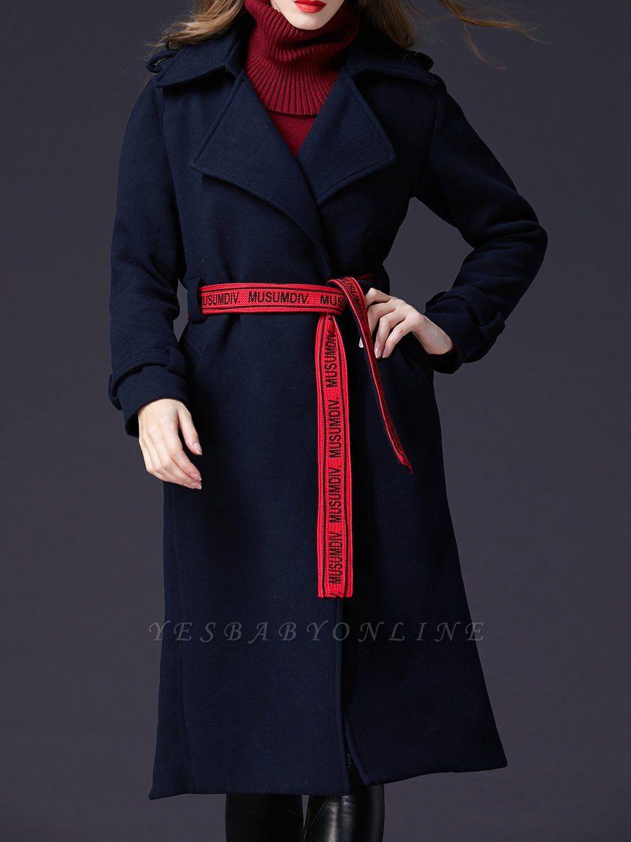 Dark blue Shift Long Sleeve Casual Pockets Paneled Coat