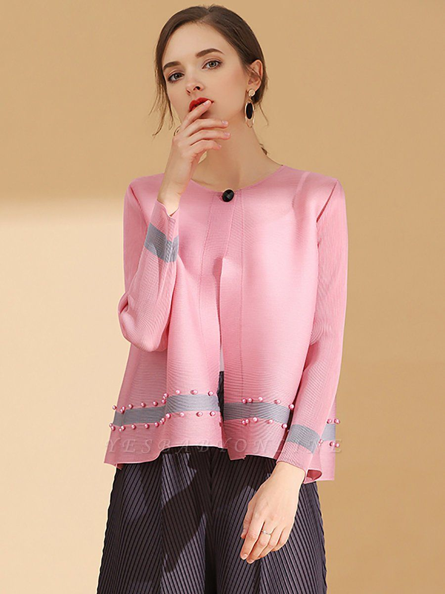 Pink Buttoned Color-block Pleated Beaded Coat