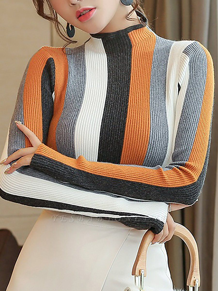 Casual Long Sleeve Stand Collar Color-block Sheath Sweater