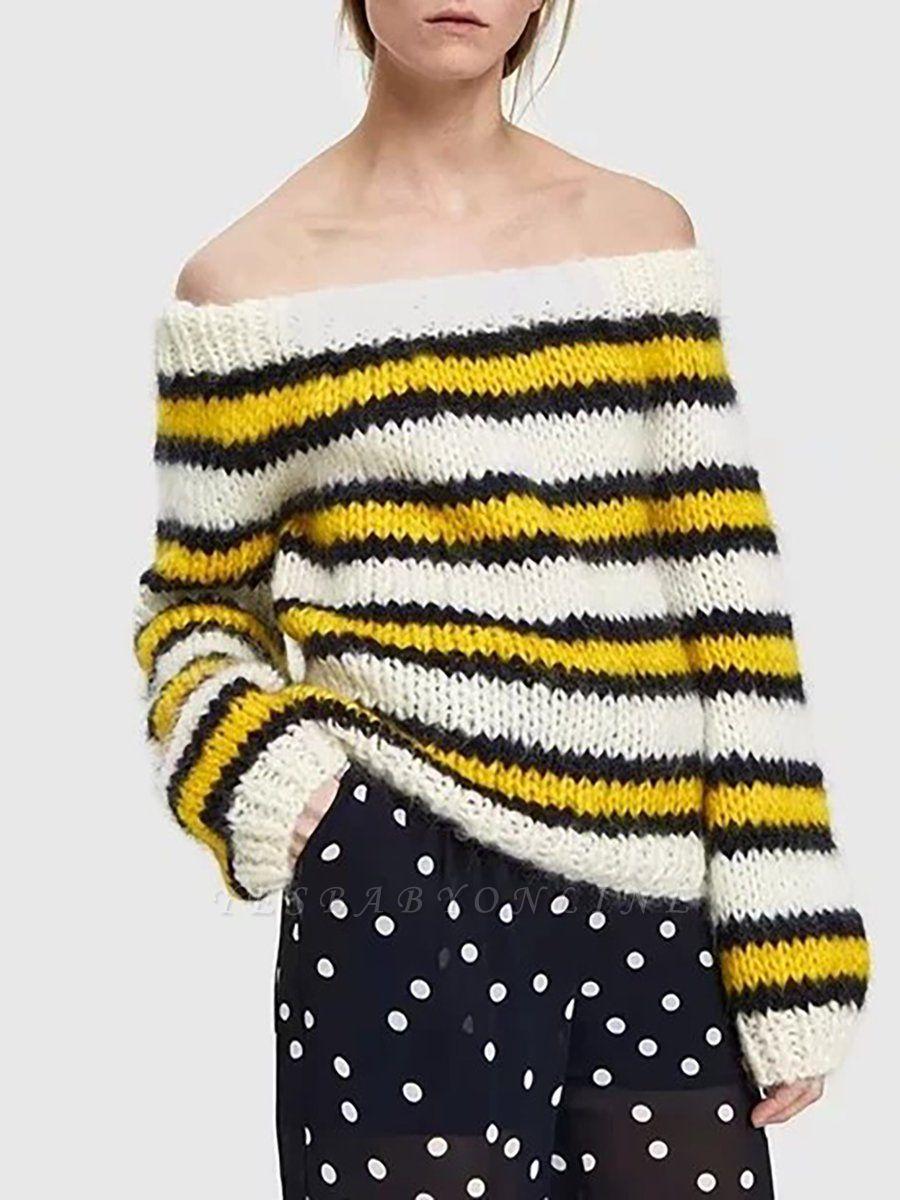 Striped Printed Bateau/boat neck Casual Sweater
