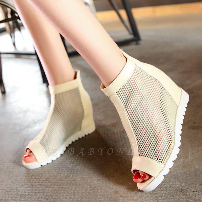 Zipper Daily Peep Toe Wedge Heel Boots