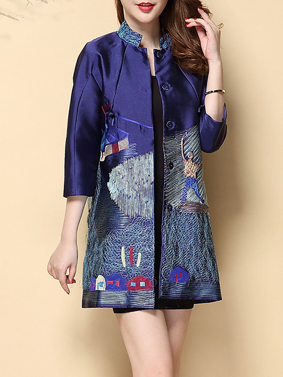 Printed Shift Half Sleeve Casual Stand Collar Coat