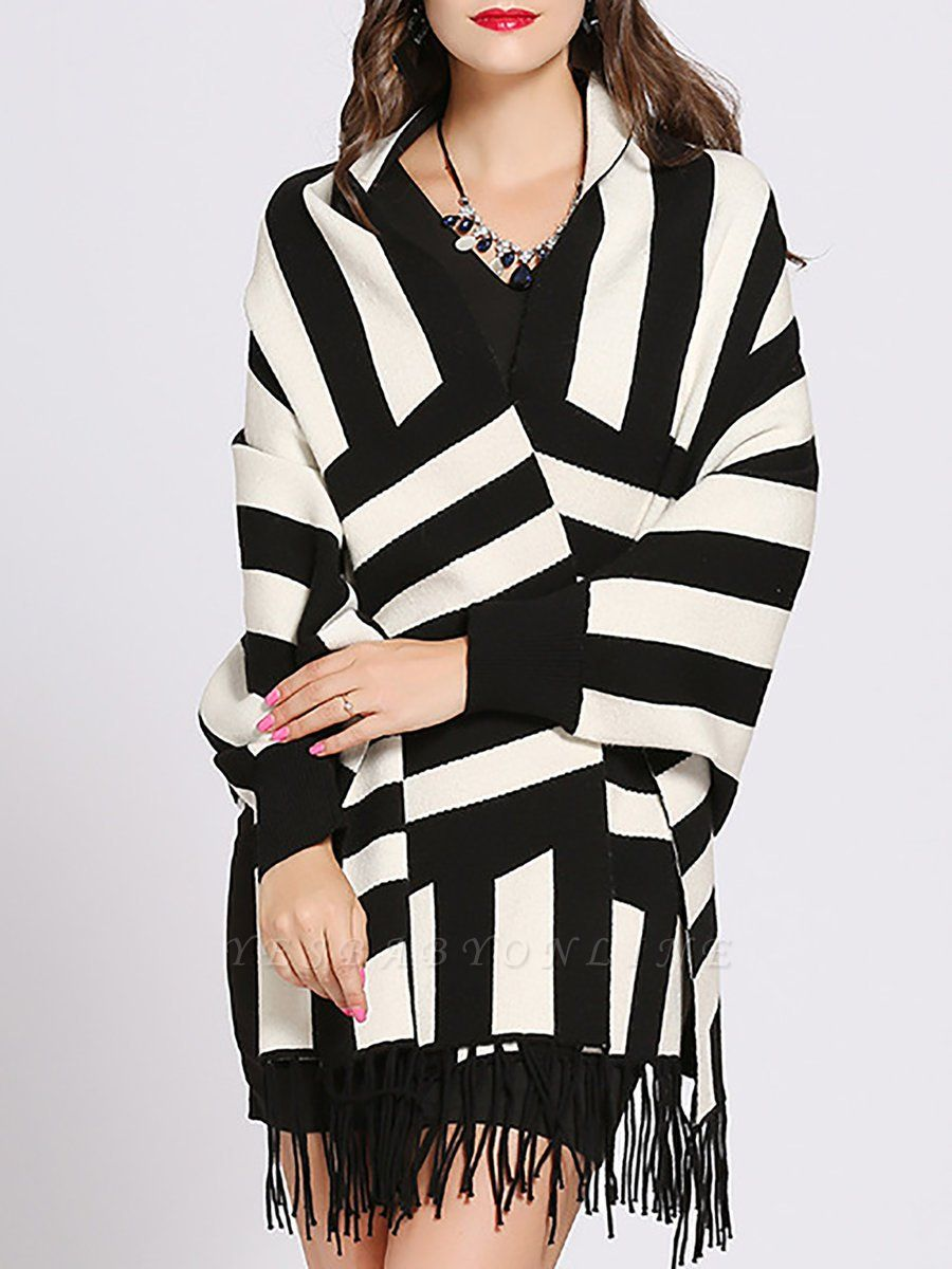 Striped Fringed Shift Long Sleeve Elegant Sweater