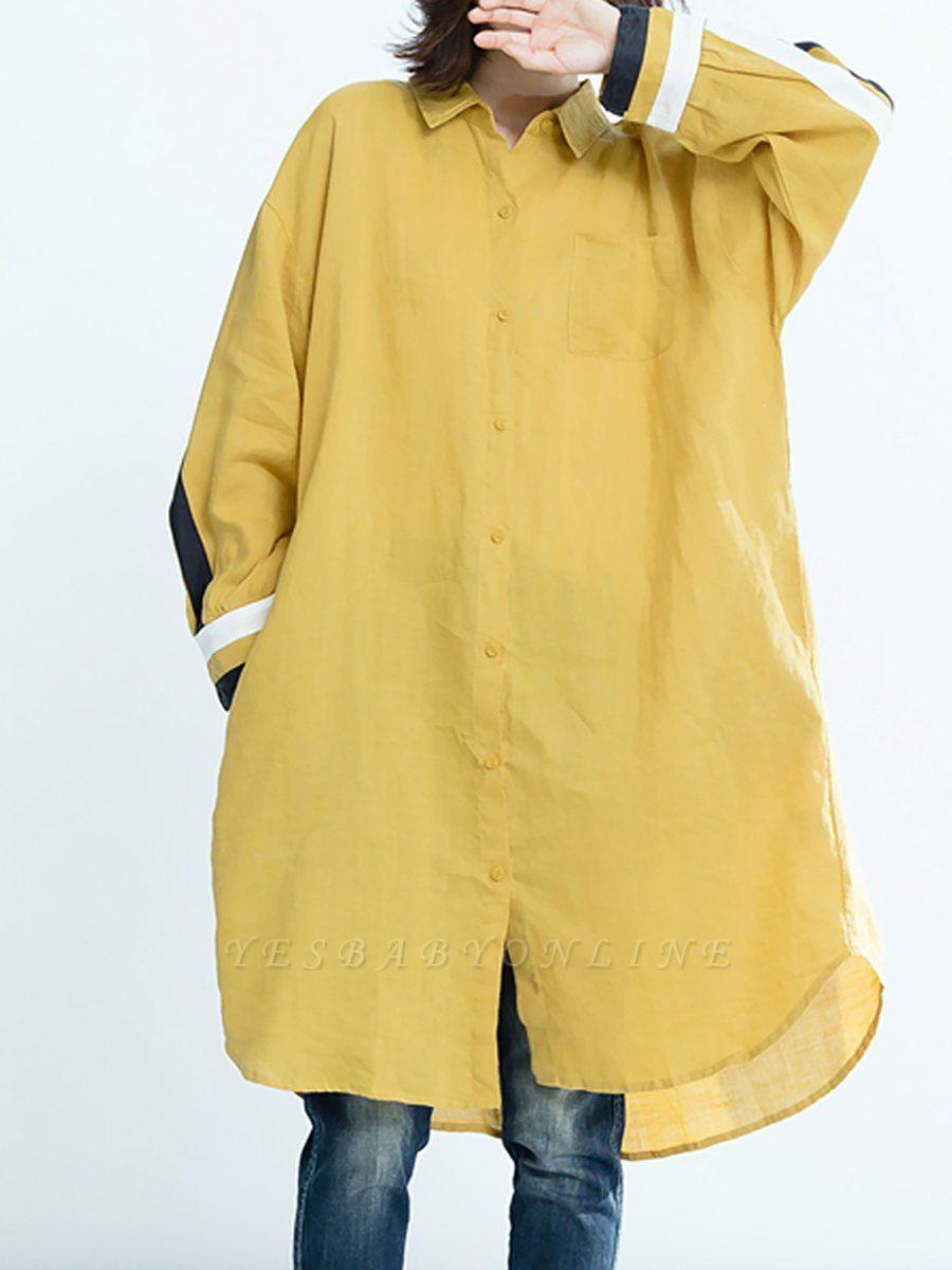 Shift Solid Long Sleeve Paneled Casual Coat