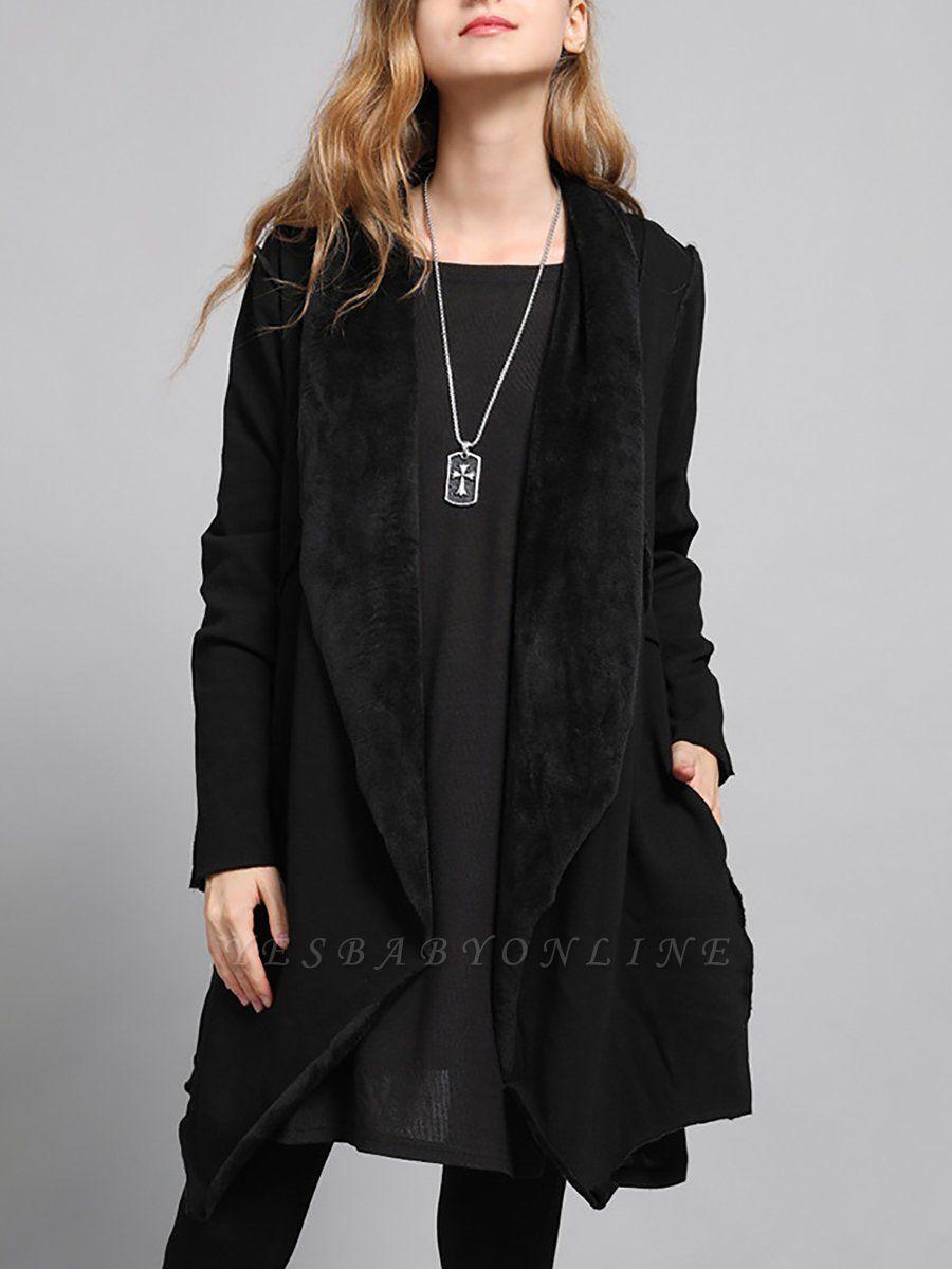 Shawl Collar Asymmetric Solid Casual Long Sleeve Coat