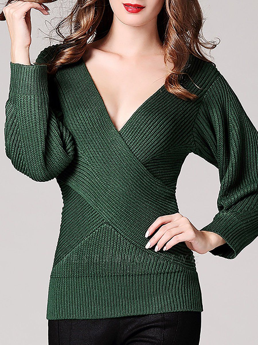 Green Sheath Long Sleeve Plunging neck Sweater