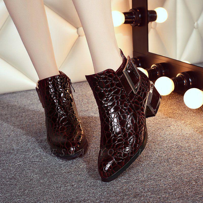Zipper  Chunky Heel Embossing Boots