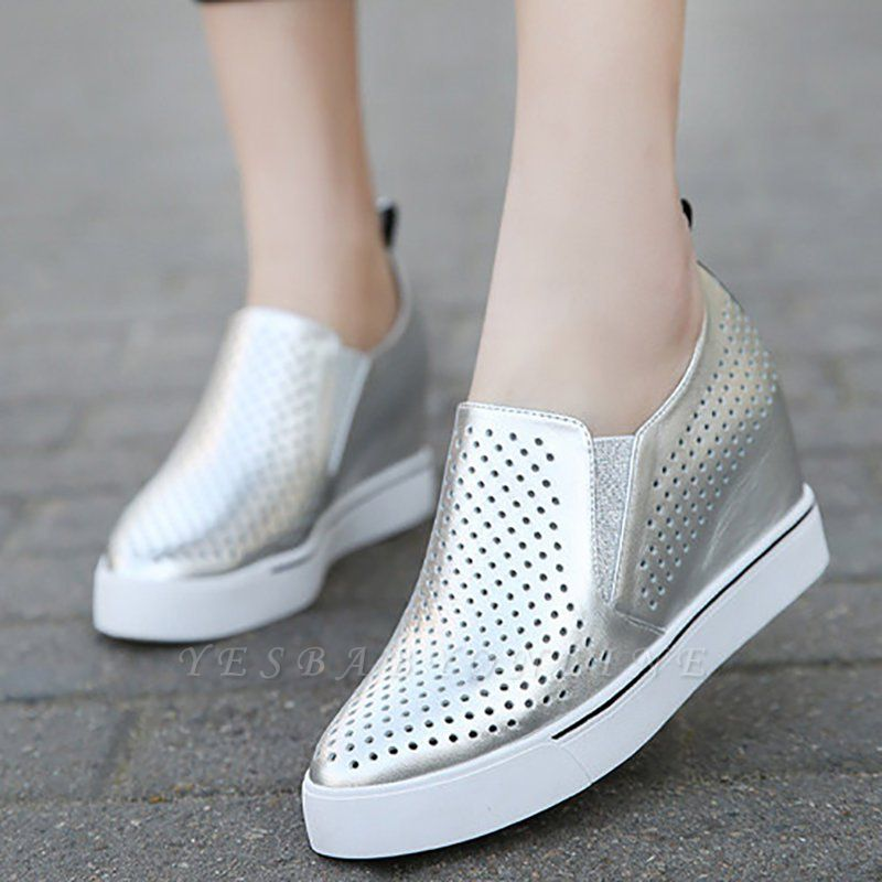 Hollow-out Wedge Heel Daily Pointed Toe Loafers