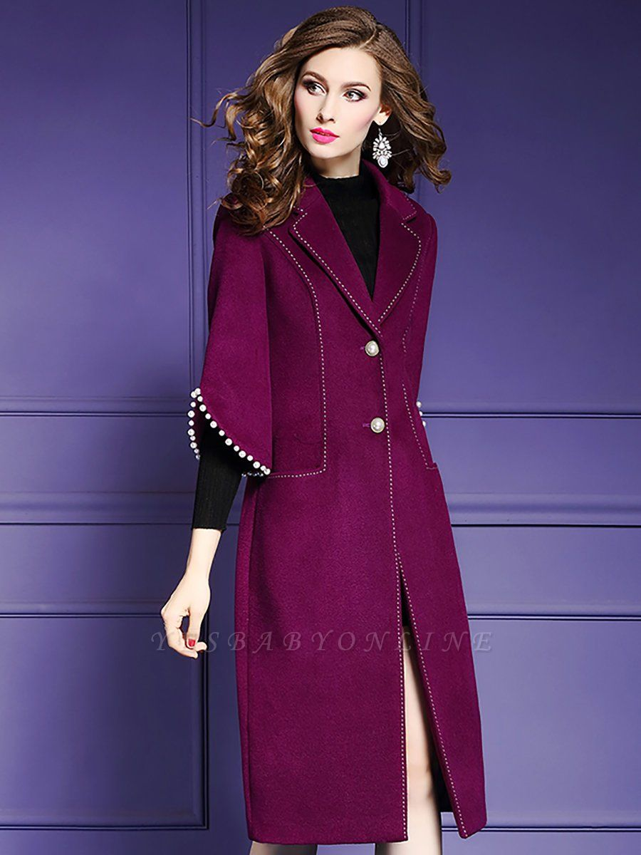Purple Beaded Work Lapel 3/4 Sleeve Buttoned Coat