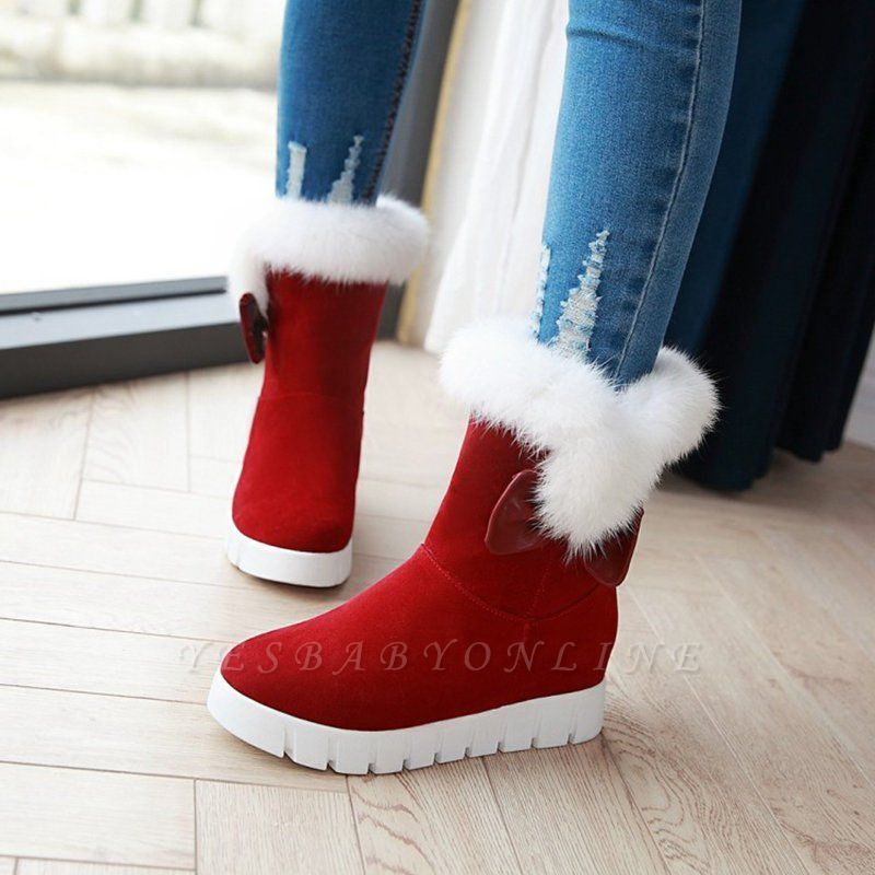 Wedge Heel Suede Fur Round Toe Bowknot Boots