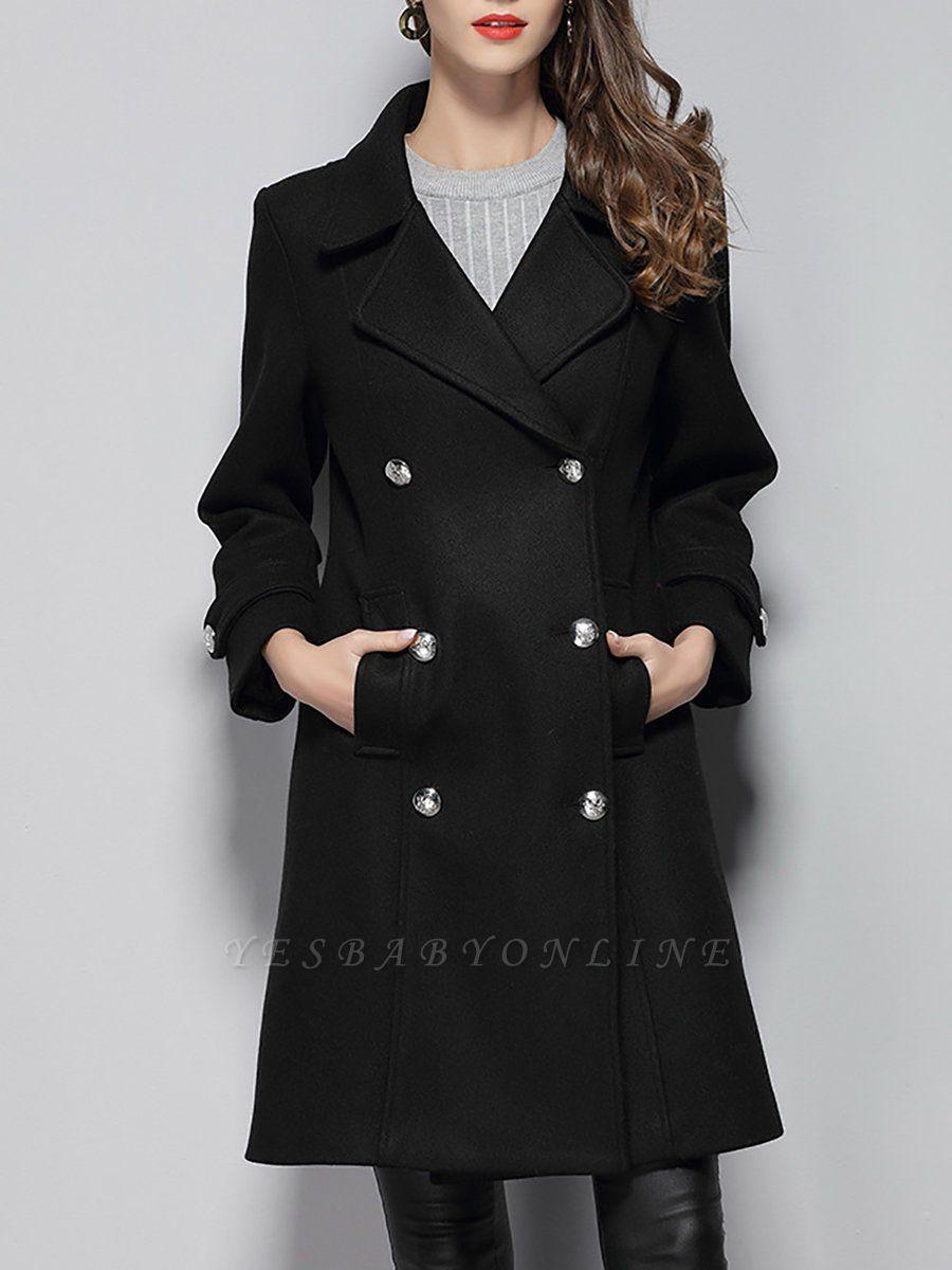 Black Long Sleeve Lapel Work Buttoned Shift Coat