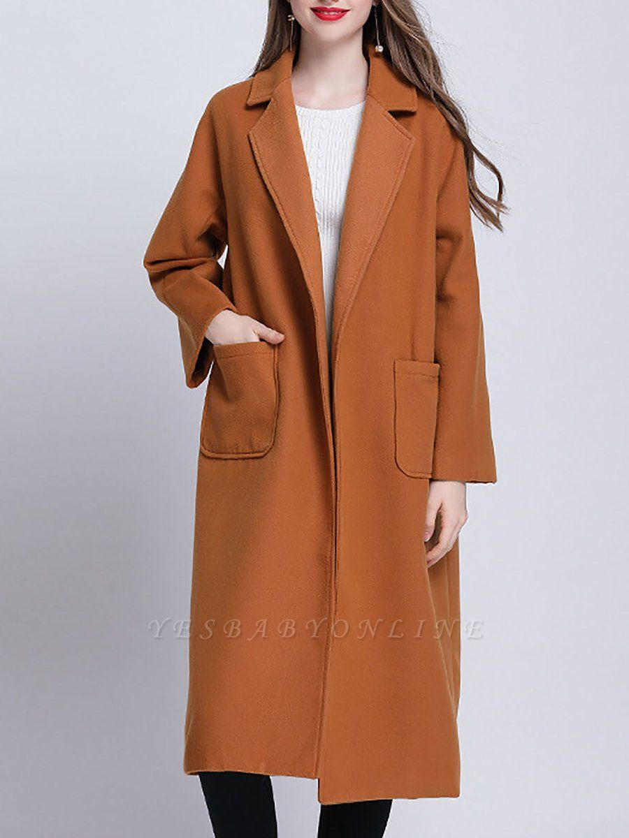 Brown Pockets Shift Solid Casual Long Sleeve Coat